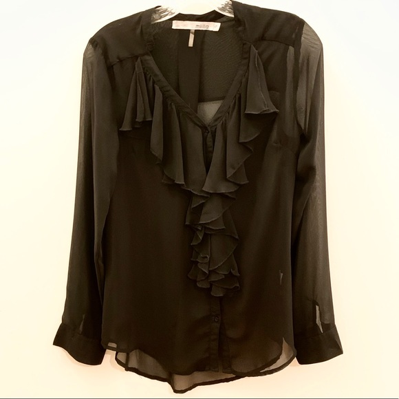 Miilla Clothing Tops - Miila Sheer Black Button Front Ruffle Blouse
